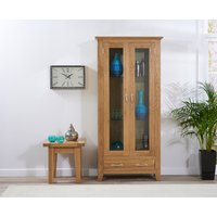 Product photograph showing Cheadle 180cm Oak Display Cabinet