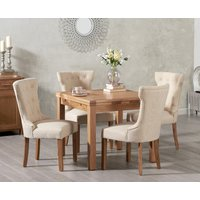 Cheadle 90cm Oak Extending Dining Table with Camille Fabric Chairs - Cream, 4 Chairs