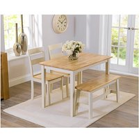Product photograph showing Ex-display Chiltern 115cm Oak And Cream Dining Table With One Bench And Two Chairs