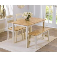 Chiltern 114cm Oak and Cream Dining Table with Bench and Chairs - Cream, 2 Chairs