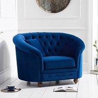 Chloe Chesterfield Blue Plush Velvet Armchair
