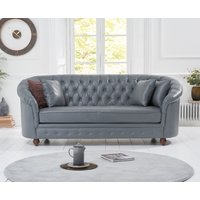 Product photograph showing Ex-display Chloe Grey Leather 3 Seater Sofa