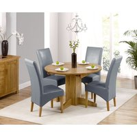 Dorchester 120cm Solid Oak Round Extending Dining Table with Cannes Chairs - Grey, 4 Chairs