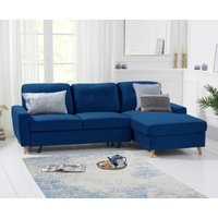 Constance Double Sofa Bed Right Facing Chaise in Blue Velvet