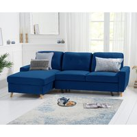 Constance Double Sofa Bed Left Facing Chaise in Blue Velvet