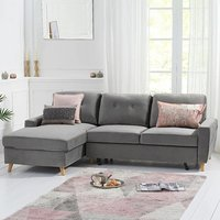 Constance Double Sofa Bed Left Facing Chaise in Grey Velvet