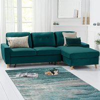 Constance Double Sofa Bed Right Facing Chaise in Green Velvet