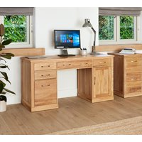 Rhone Solid Oak Twin Pedestal Computer Desk