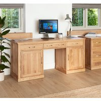 Rhone Solid Oak Large Hidden Office Twin Pedestal Desk