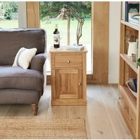 Product photograph showing Rhone Solid Oak One Door One Drawer Side Table