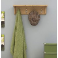 Product photograph showing Rhone Solid Oak Wall Mounted Coat Rack