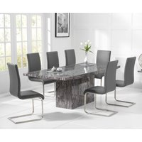 Crema 220cm Grey Marble Dining Table with Malaga Chairs
