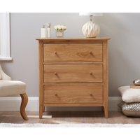Product photograph showing Ex-display Sadie Oak 3 Drawer Chest