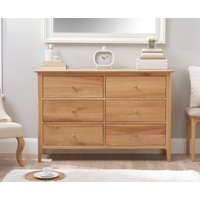 Product photograph showing Sadie Oak 6 Drawer Chest
