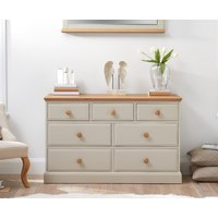 Read more about Abel oak and stone painted 3 over 4 chest of drawers