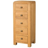 Product photograph showing Avalon Oak 5 Drawer Tall Chest