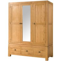 Product photograph showing Avalon Oak Triple Wardrobe With 3 Drawers And Mirror