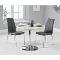 1ae38881ad9e Product photograph showing Delaney 90cm Round High Gloss Carrera Grey  Dining Table With Cavello Dining Chairs