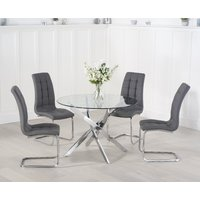 Product photograph showing Ex-display Denver 95cm Glass Dining Table With 2 Grey Lorin Chairs