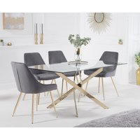 Product photograph showing Denver 160cm Rectangular Gold Leg Glass Dining Table With Fern Velvet Chairs - Grey 4 Chairs