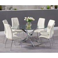 Product photograph showing Ex-display Denver 165cm Oval Glass Dining Table With 4 Cream Calgary Chairs
