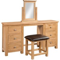 Product photograph showing Lulworth Light Oak Double Pedestal Dressing Table And Stool