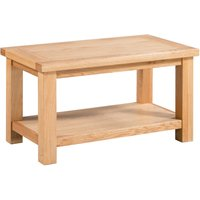 Product photograph showing Lulworth Light Oak Small Coffee Table With Shelf