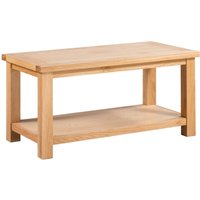 Product photograph showing Lulworth Light Oak Large Coffee Table With Shelf