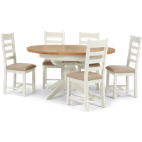 Eden Round Extending Dining Table with Ladder Back Fabric Chairs - Oak and White, 4 Chairs