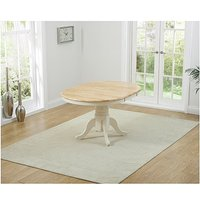 Product photograph showing Ex-display Epsom Cream Pedestal Extending Dining Table