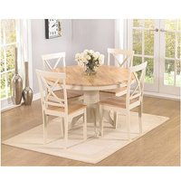 Ex-display Epsom Cream 120cm Round Pedestal Dining Table Set with Chairs