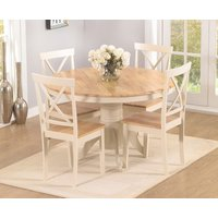 Epsom Cream 120cm Round Pedestal Dining Table Set with Chairs - Cream, 4 Chairs
