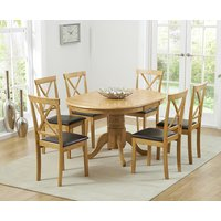 Product photograph showing Epsom Pedestal Extending Dining Table With Chairs - Brown 4 Chairs
