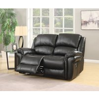 Finchley Black Leather 2 Seater Sofa