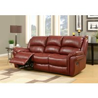 Finchley Burgundy Leather 3 Seater Sofa