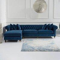 Flora Blue Velvet Left Facing Chesterfield Corner Chaise Sofa