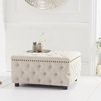 Flora Cream Linen Square Footstool