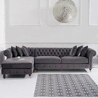 Flora Grey Velvet Left Facing Chesterfield Corner Chaise Sofa