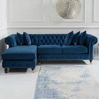 Flora Medium Blue Velvet Left Facing Corner Chaise Sofa