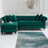 Flora Medium Green Velvet Left Facing Corner Chaise Sofa