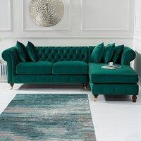 Flora Medium Green Velvet Right Facing Corner Chaise Sofa