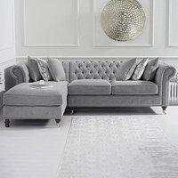 Flora Medium Grey Linen Left Facing Corner Chaise Sofa