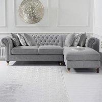 Flora Medium Grey Linen Right Facing Corner Chaise Sofa