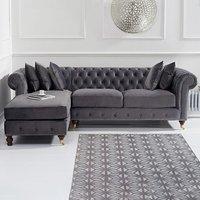 Flora Medium Grey Velvet Left Facing Chesterfield Corner Chaise Sofa