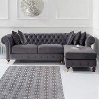 Flora Medium Grey Velvet Right Facing Chesterfield Corner Chaise Sofa