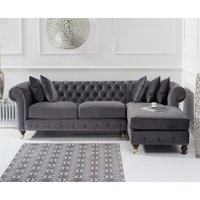 Flora Medium Grey Velvet Right Facing Chesterfield Chaise Sofa