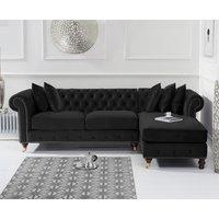 Product photograph showing Flora Medium Black Velvet Right Facing Corner Chaise Sofa