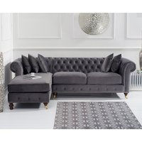 Flora Medium Grey Velvet Left Facing Chesterfield Chaise Sofa