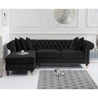 Product photograph showing Flora Medium Black Velvet Left Facing Chesterfield Corner Chaise Sofa