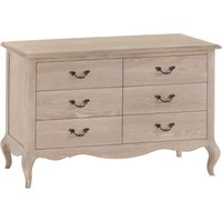 Product photograph showing Limor Oak 6 Drawer Chest Of Drawers